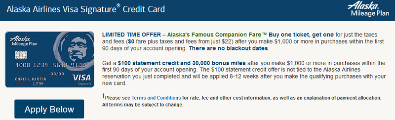 Alaska Airlines Visa Signature Credit Card Promotion