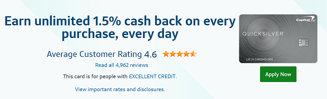 Capital one quicksilver credit card rewards