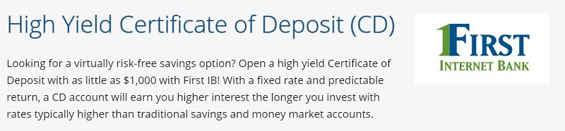 First Internet Bank 3-Month Certificate of Deposit