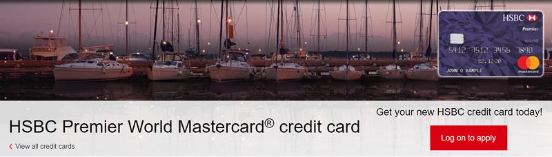 HSBC Premier World Mastercard Credit Card 35,000 Points Bonus