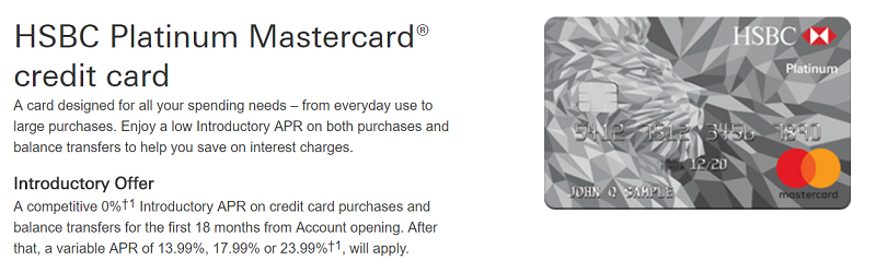 HSBC Platinum Mastercard Card Review 0% Intro APR For 18 Months