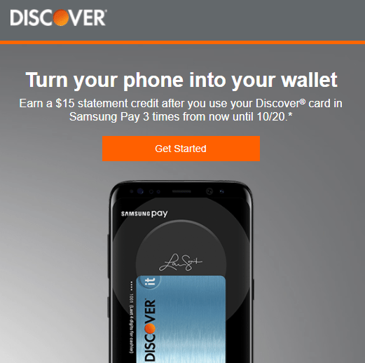 Discover Samsung Pay Offer: Get A $15 Statement Credit After Using Your Discover Card In Samsung Pay 3 Times (Targeted)