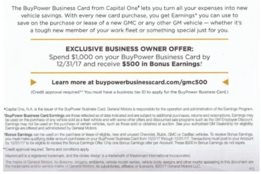 Gm Capital One >> Capital One Buypower Business Card 500 Bonus Earnings 5