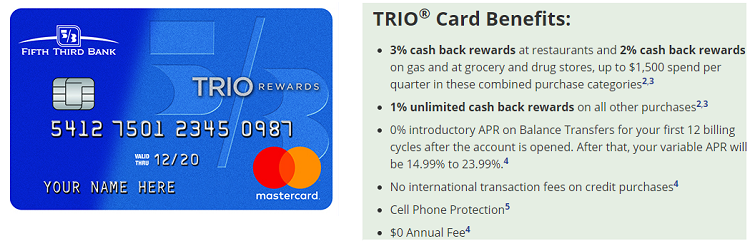 Fifth Third Bank Trio Credit Card 450 Bonus 3 Cash Back