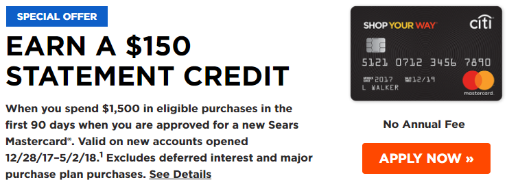 Citi Sears Mastercard $12 Statement Credit Bonus + Up To 12% Back